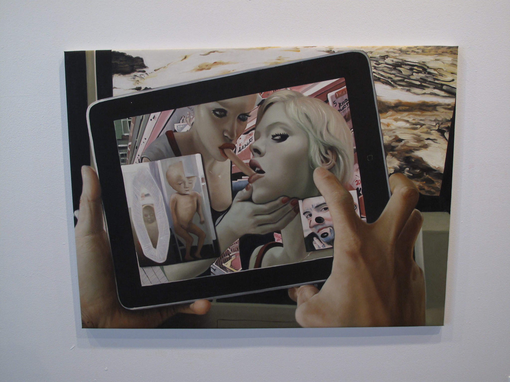 Painting of a photo of two people eating a hotdog on a tablet